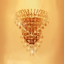 Contemporary Wall Light Fixture Embellished with Clear Crystal Balls and Teardrops Create Graceful Shimmer
