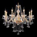 Glittering Crystal Diamonds and Strands Cascades Gold Brilliant Design Chandelier