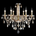 Glittering and Glamour Six Candle Lights Warm Chocolate Crystal Chandelier