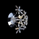 Enhance Contemporary Decor with Exciting Crystal Flower Design Wall Sconce