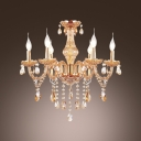 Crystal Chandelier Noteworthy for Ornate Arms and Scrolls Hung with Irregular Gleaming Crystal