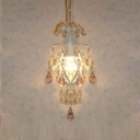 Curling Frame Finished in White and Adorned with Golden Crystal Beads Give Chandelier Regal Look