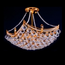 Gold Grandeur Corona Crystal Semi-Flush Mount with 4-Light 15.7