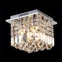 Brilliant Design Square Foyer Light Flush Mount Lights Hanging Crystal Prisms and Spheres