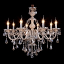Warm and Chic 8-Light Polished Crystal Droplets Chandelier with 8 Candle Light
