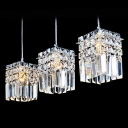 Eye-catching Three Light Multi-Light Pendant Adorned with Beautiful Crystal Beads and Delicate  Square Base
