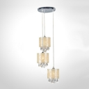 Delicate Beige Fabric Shades and Clear Crystal Drops Add Charm to Graceful Multi-Light Pendant