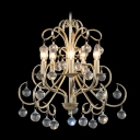Hanging Lovely Small Crystal Globes Vintage Wrought Iron Chandelier for Living Room