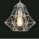 White Finished Medium Cage LED Pendant Light with Reel Iron