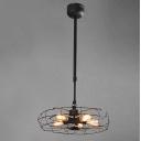 Suspension Industry Wrought Iron Fan Five-light LED Pendant