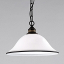 1 Light Down Lighting LED Pendant with White Frosted Glass