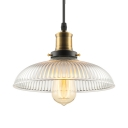 Clear Glass 1 Light LED Pendant with Ribbed Glass Shade Industrial Hanging Lamp for Kitchen