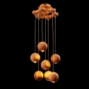"Seven Lights 11""Wide Designer Pendant Light Hanging Wooden Balls"