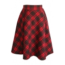 Simple Vintage Plaid A-Line Midi Skirt