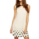Sequins&Diamond Embellished Sheer Mesh Panel Cream Sleeveless Dress