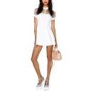 Sheer Mesh Panel Shoulder Short Sleeve Lapel High Waist White Dress