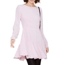 Sweet Long Sleeve Pink A-line Dress