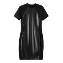 Black PU Insert Short Sleeve Stand Up Collar Fitted Dress