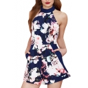 Blue Background Halter Pockets Open Back Rompers