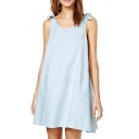 Light Blue Bow Shoulder Round Neck A-Line Dress