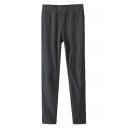 Dark Gray Patch Knees Elastic Laid Back Pencil Pants