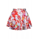 Santa Clause Print High Waist A-Line Mini Skirt