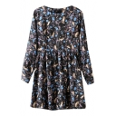 Colorful Diamond Print Round Neck Long Sleeve Dress