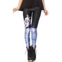 Land the Moon Theme Fitted Elastic Waist Skinny Leggings