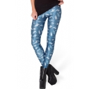 Whale Blue Tie Dye Spandex Elastic Waist Skinny Leggings