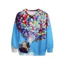 Colorful Balloons&Flying House Print Sweatshirt