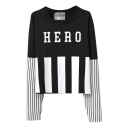 Hero Print Round Neck Stripe Long Sleeve T-Shirt