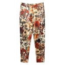 Fashionable Blossom Print Beige Background Pants