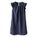 Navy Plain Ruffle Trim Round Neck Golden Buttons Dress