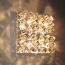 Dazzling Transparent Crystal Glass Wall Light Fixture Features Electroplated Chrome Finish with Four Light