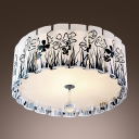 Elegant Black Clover Pattern Scalloped Shade Adorned Flush Mount Ceiling Light in Contemporary Style with Clear Crystal Drop