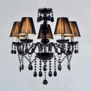 Charming Five Lights Jet Black Support and Crystal Strands Chandelier Lights