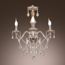 Timeless Three Lights Crystal Starnds and Droplets Chandelier in Crystal Style for Living Room