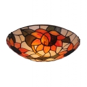 Delightful Sunflower Motif Two Lights Glass Shade Flush Mount Ceiling Light in Tiffany Style