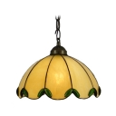 Romantic Green Crystal Beadings Single Light Yellow Glass Shade Tiffany Mini Pendant