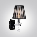 Gorgeous Wall Sconce Adorned with Cool Black Patterned Fabric Shade and Beautiful Clear Crystal Bobeche and Drops