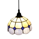 Beauteous Singe Light White-Blue Glass Shade Tiffany Mini Pendant