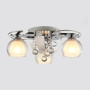 Absorbing Glass Shades and Beautiful Clear Crystal Balls Add Charm to Delightful Three Lights Semi Flush Mount Ceiling Light