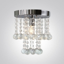 Charming Single Light Flush Mount Ceiling Light in Chrome Finish and Dazzling Strands of  Crystal Beads and Clear Teardrops