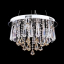 Engraving Six Lights Steel Finish Large Pendant Light Adorned withBeautiful Crystal Cascade