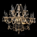 Opulent Strands of Amber Crystal and Droplets 12-Light Elegant Chandelier