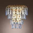 Lustrous Low-voltage Luminaire Wall Sconce Composed of Faceted Crystals