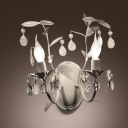 Elegant Charming Wall Sconce Features White Finish and Clear Crystal Teardrops