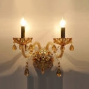 Dramatic Luxurious Wall Sconce Offers Impressive Look with Champagne Crystal