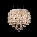 Clear Crystal Globes Cascades and Metal Cut Shaded Large Pendant Lighting