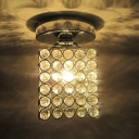 Square Design Crystal Semi-Flush Mount Ceiling Light with Metal Cut Shade